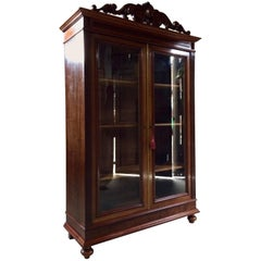 Stunning 19th Century Empire Style Bookcase Glazed Doors Glass Vitrine Cabinet