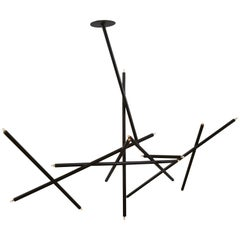 Pick Up Stick Chandelier 10 Stick by Billy Cotton in Blackened Brass