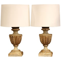 Pair of Italian Wood Carved Polychrome and Two-Tone Painted Urns Table Lamps