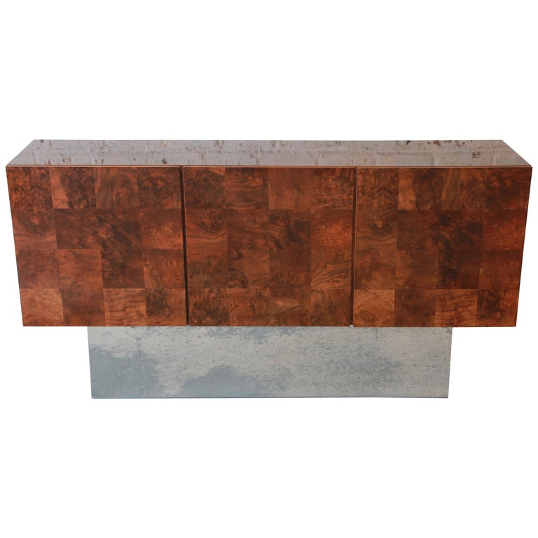Milo Baughman Patchwork Burl Wood and Chrome Sideboard Credenza