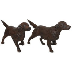 19th Century Dog Cast Iron Door Stops / Pair
