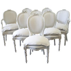 Set of 8 Antique Louis XVI Style Painted and Upholstered Dining Chairs