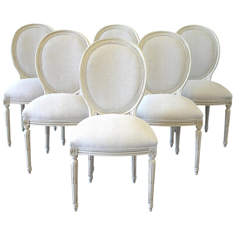 Set of 6 Louis XVI Style White Painted and Upholstered Dining Chairs For Sale