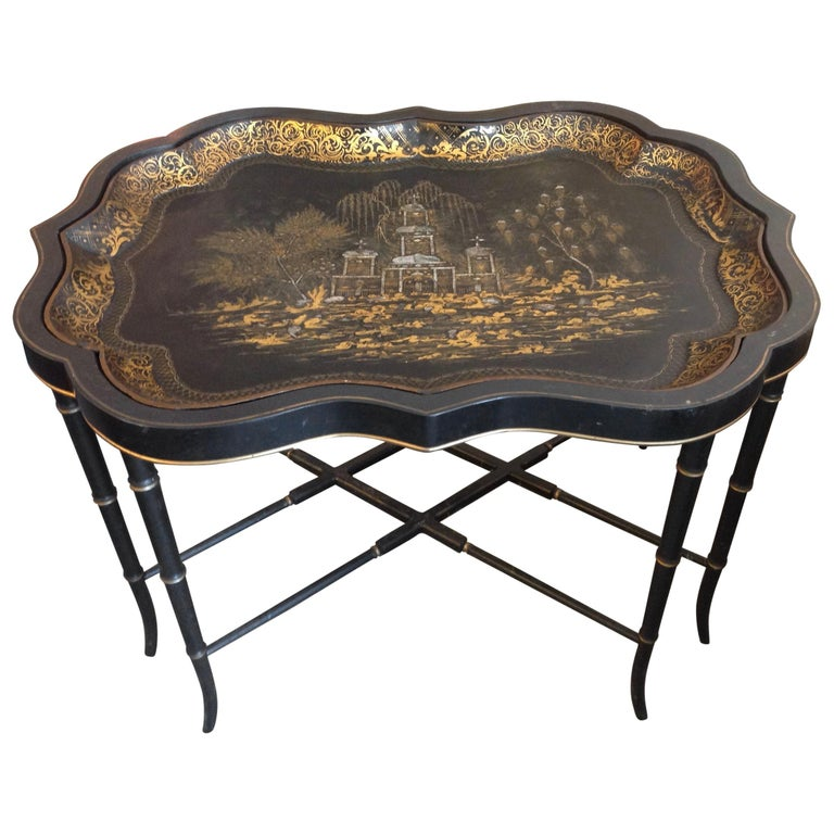 19th Century English Chinoiserie Abalone and Gilt Papier Mâché Tray on Stand For Sale
