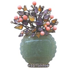 Iradj Moini Vase Pin of Jade, Coral, Amethyst and Amber