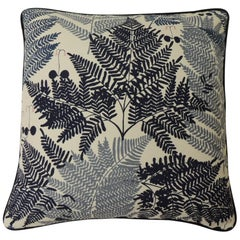 "Blue and White ""Thalia"" Fern Fronds Decorative Pillow"