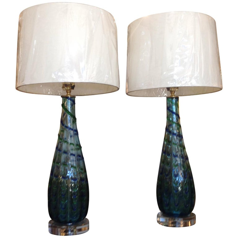 Pair of Murano Lamps For Sale