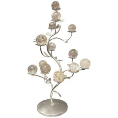 Modern Rock Crystal Silver-Leafed Tree Formed Centrepiece