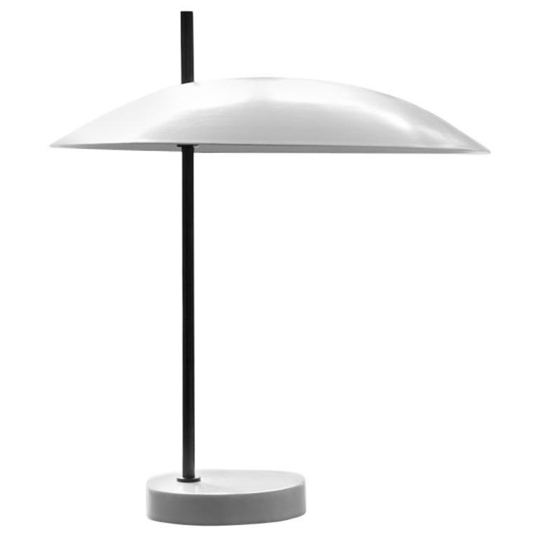 Pierre Disderot Model #1013 Table Lamp in White & Gunmetal for Disderot, France