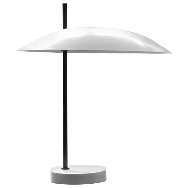 Pierre Disderot Model #1013 Table Lamp in White & Gunmetal for Disderot, France