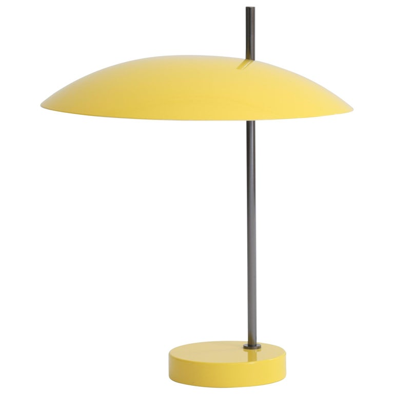 Pierre Disderot Model #1013 Table Lamp in Yellow & Gunmetal for Disderot, France