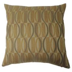 """Gold and Green """"Mercer"""" Woven Silk Pillow"""
