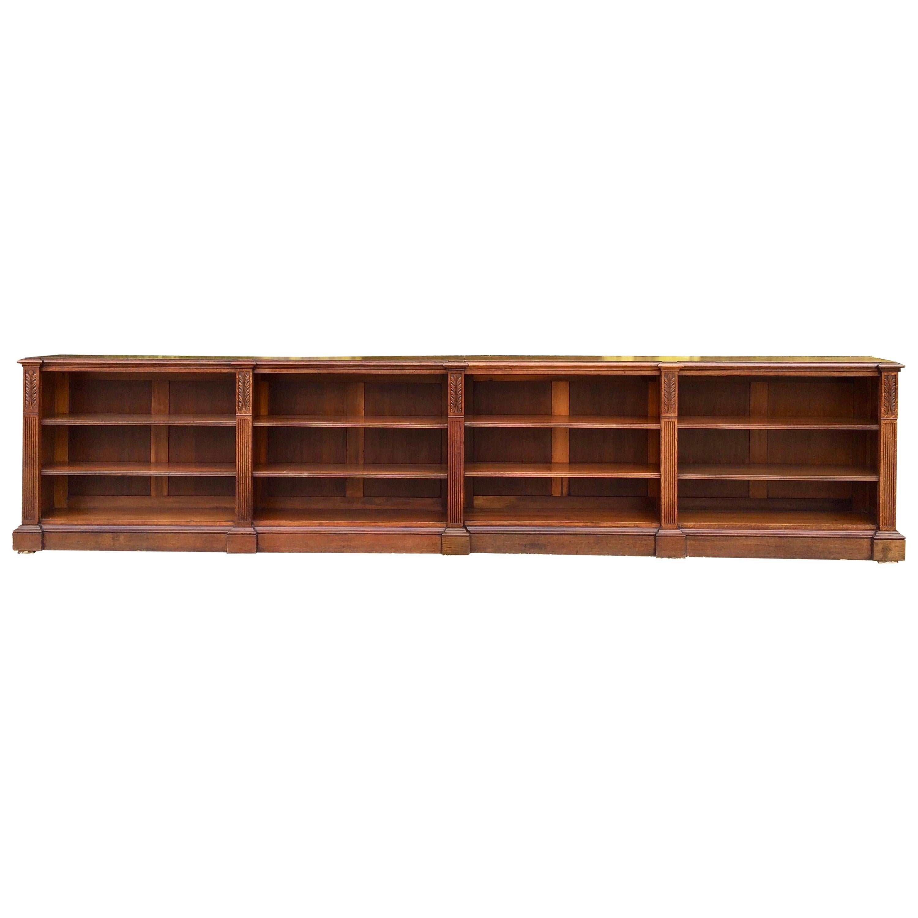 Superieur Stunning 19th Century Large Oak Bookcase Two Sections Carved Adjustable  Shelves For Sale