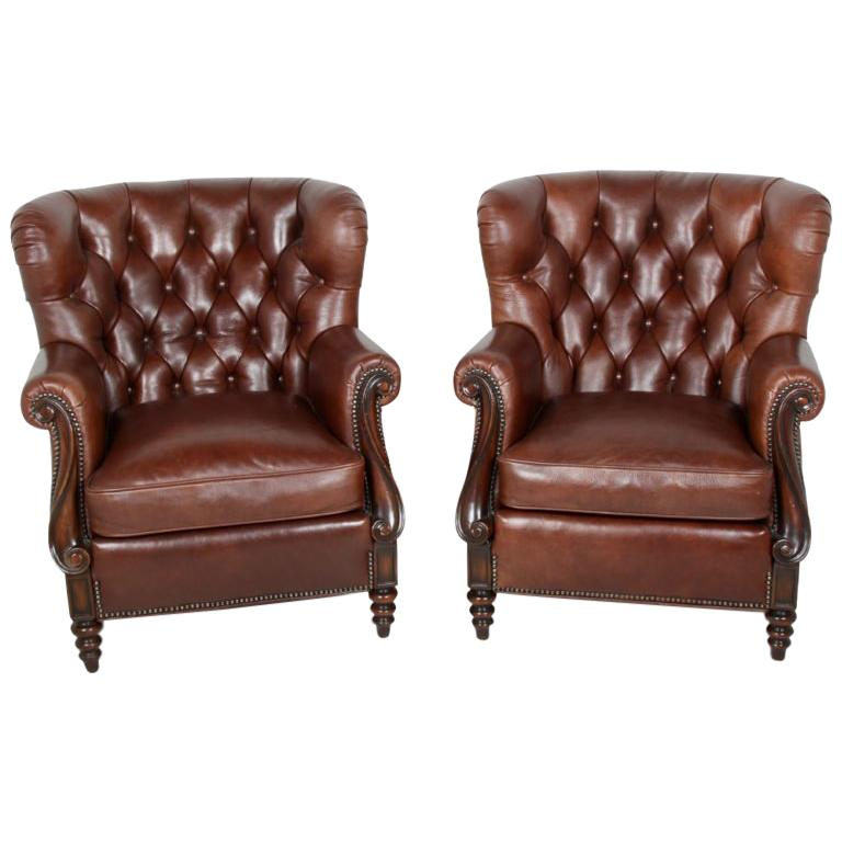 Pair Of Button Tufted Leather Armchairs