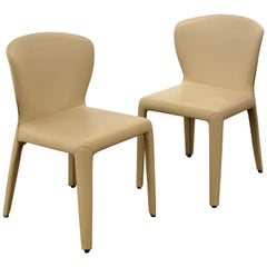 Pair of hola Chairs Designed by Hannes Wettstein for Cassina in Leather
