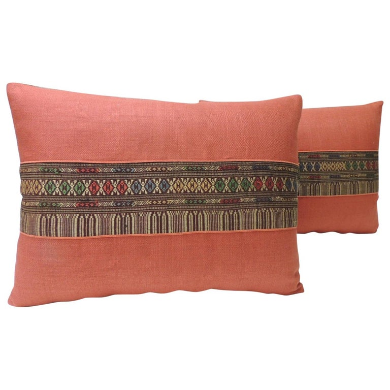 Pair of Vintage Red Embroidered Asian Decorative Bolster Pillows