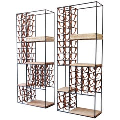 Arthur Umanoff Mid-Century Modern Leather and Iron 40-Bottle Wine Racks, Pair