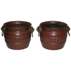 Vintage Copper Cachepots with Red Patinated Finish, Italian, circa 1930s