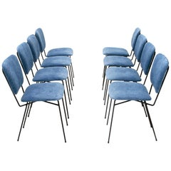Midcentury Italian Blue Velvet Chair by Doro Cuneo, 1960s, Set of Eight