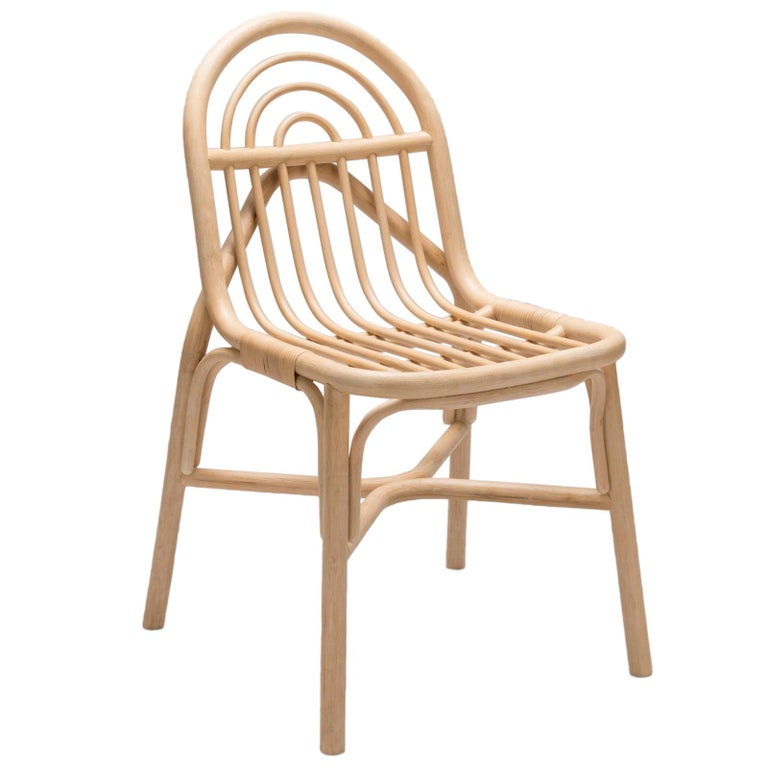 Silla Dining Chair, Contemporary Curved Rattan Chair in Cane Structure