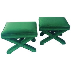 Mid-Century Modern Baldwin/ Baughman Style X Benches in Green Velvet, Pair