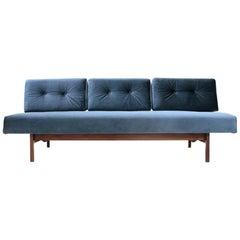 Midcentury Italian Blue Velvet Sofa Model 872 by Gianfranco Frattini for Cassin