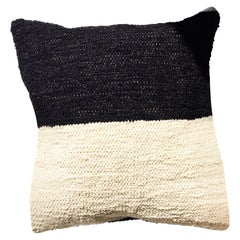 Handwoven Cotton Black and White Color Block Throw Pillow, in Stock