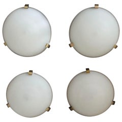 Set of 4 Fine French Art Deco Flush Mount / Wall Sconce by Jean Perzel