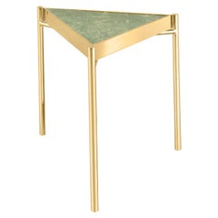 Kandinsky, Contemporary Triangular Side Table in Marble with Gold Base
