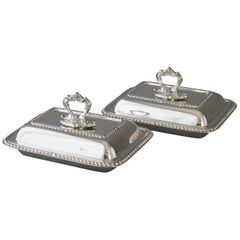 Pair of Edwardian Silver Entree Dishes Sheffield, 1902