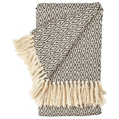 Handwoven Cotton Black and Natural Fringed Throw, in Stock