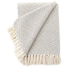Handwoven Fringed Cotton Throw in Grey and Natural, in Stock
