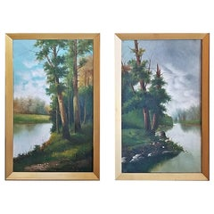 19th Century Pair of British Oils on Canvas of River and Forest Scenes