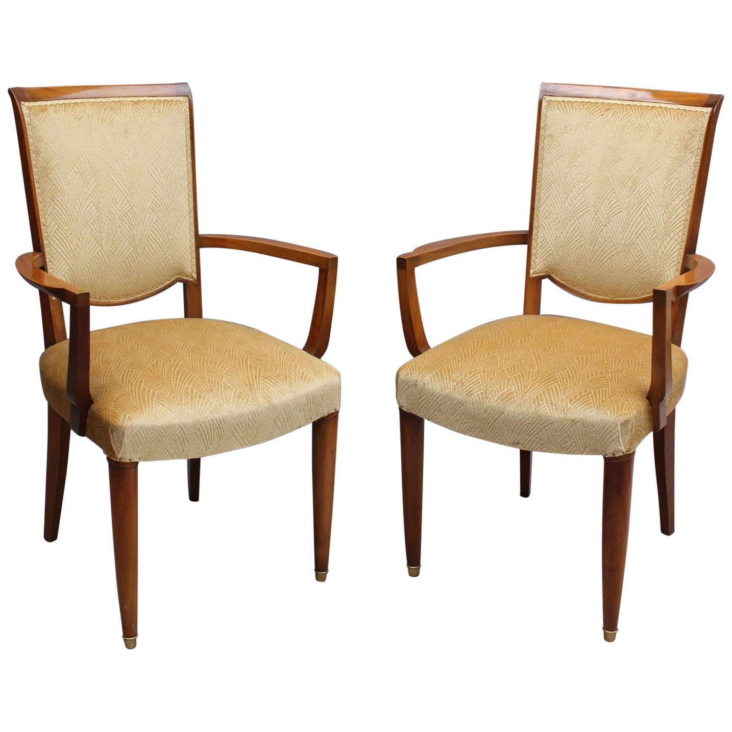 Pair of Fine French Art Deco Mahogany Armchairs by Jules Leleu