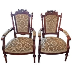 19th Century Pair of French Louis XVI Style Walnut Armchairs