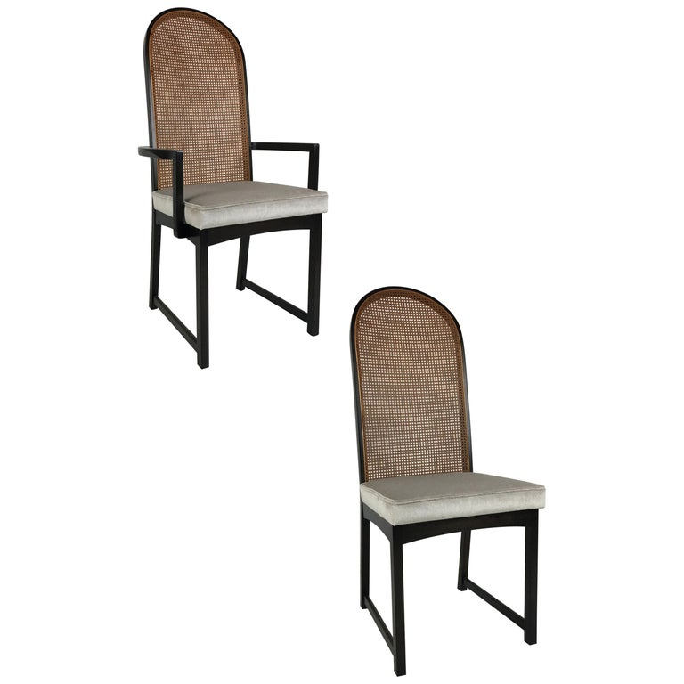 Set of Eight High Back Dining Chairs by Milo Baughman for Directional For Sale