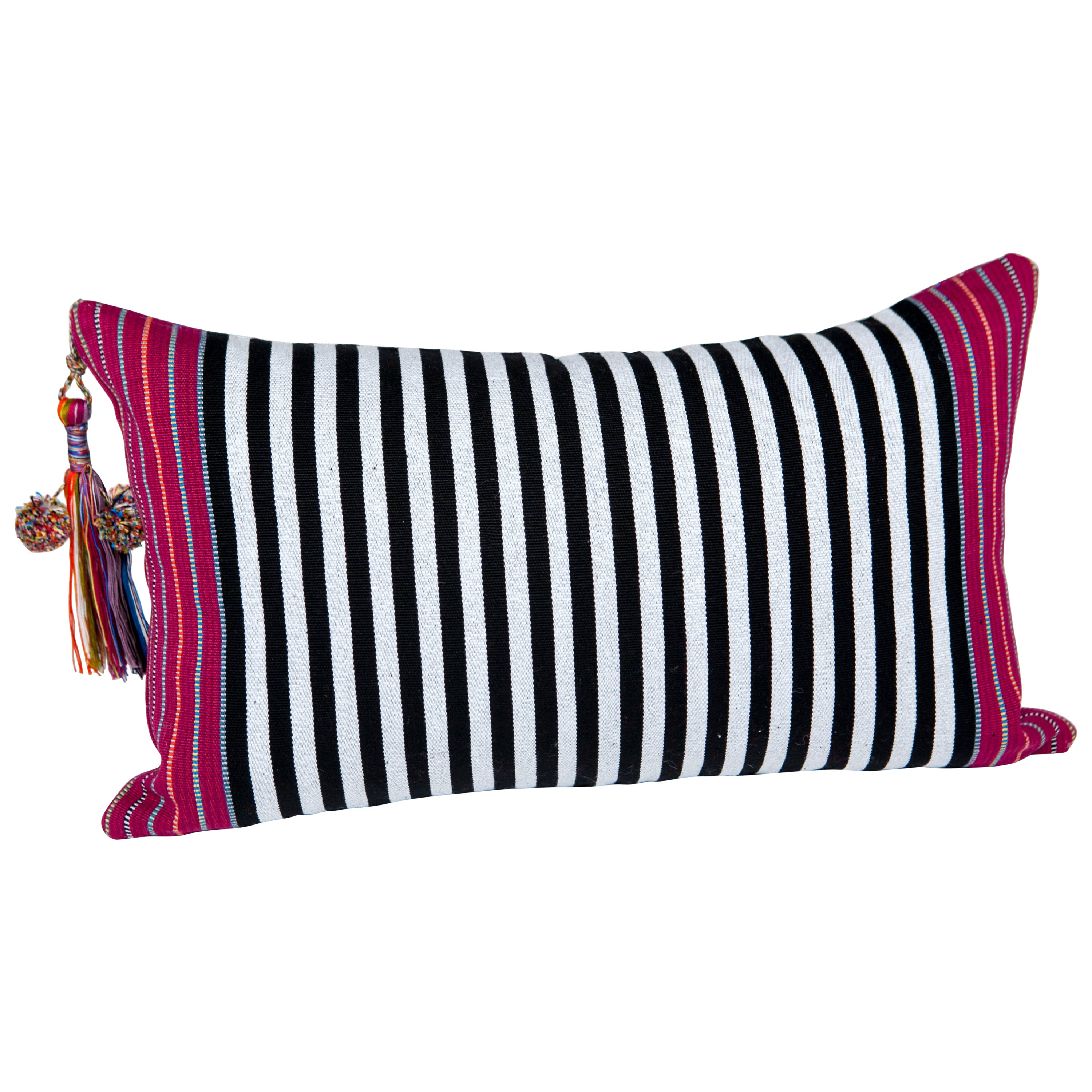 Handwoven Fine Cotton Small Pillow Black Stripes with Red Trim & Tassel in Stock
