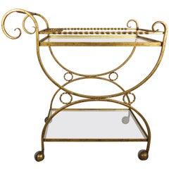 2-Shelf Gilt Metal and Glass Serving Cart