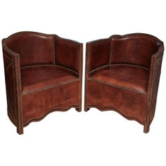 Superb Pair of Vintage Moroccan Leather Barrel Chairs