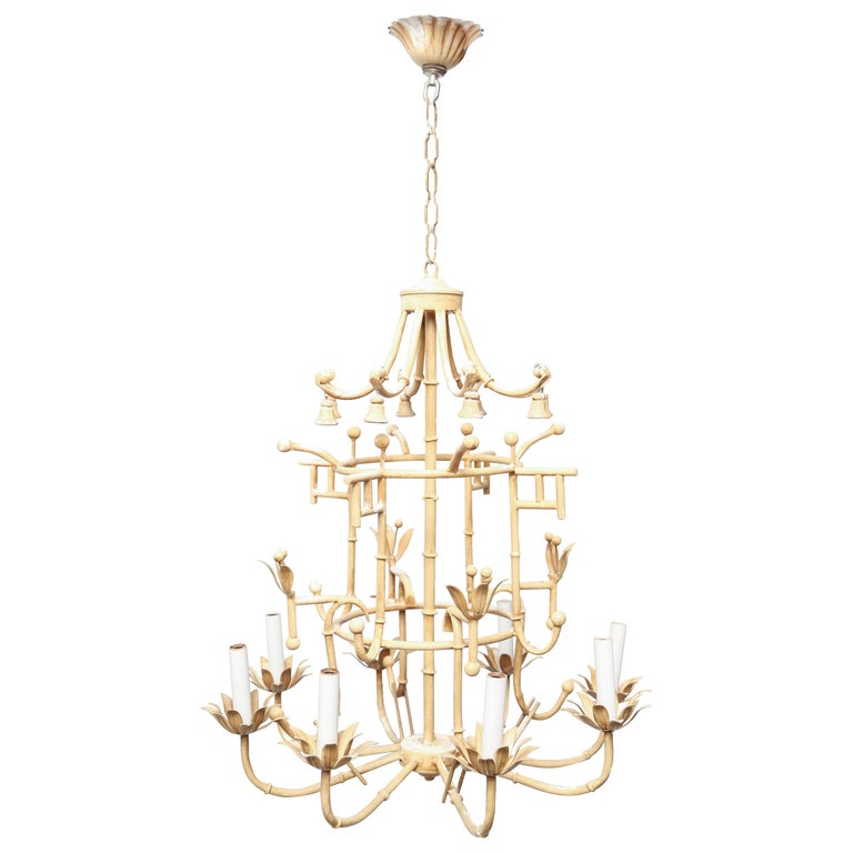 Charming Vintage Italian Iron Chandelier For Sale