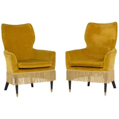 Pair of Italian Mid-Century Modern Ladies Chairs Paolo Buffa Style, Italy, 1960s