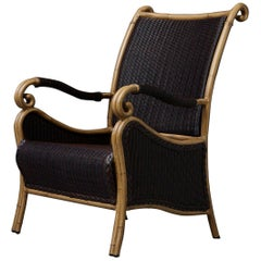 Black Wicker Armchair with Painted Faux Bamboo Wood Frame by Ebel