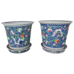 Pair of Hand Painted Ceramic Pots