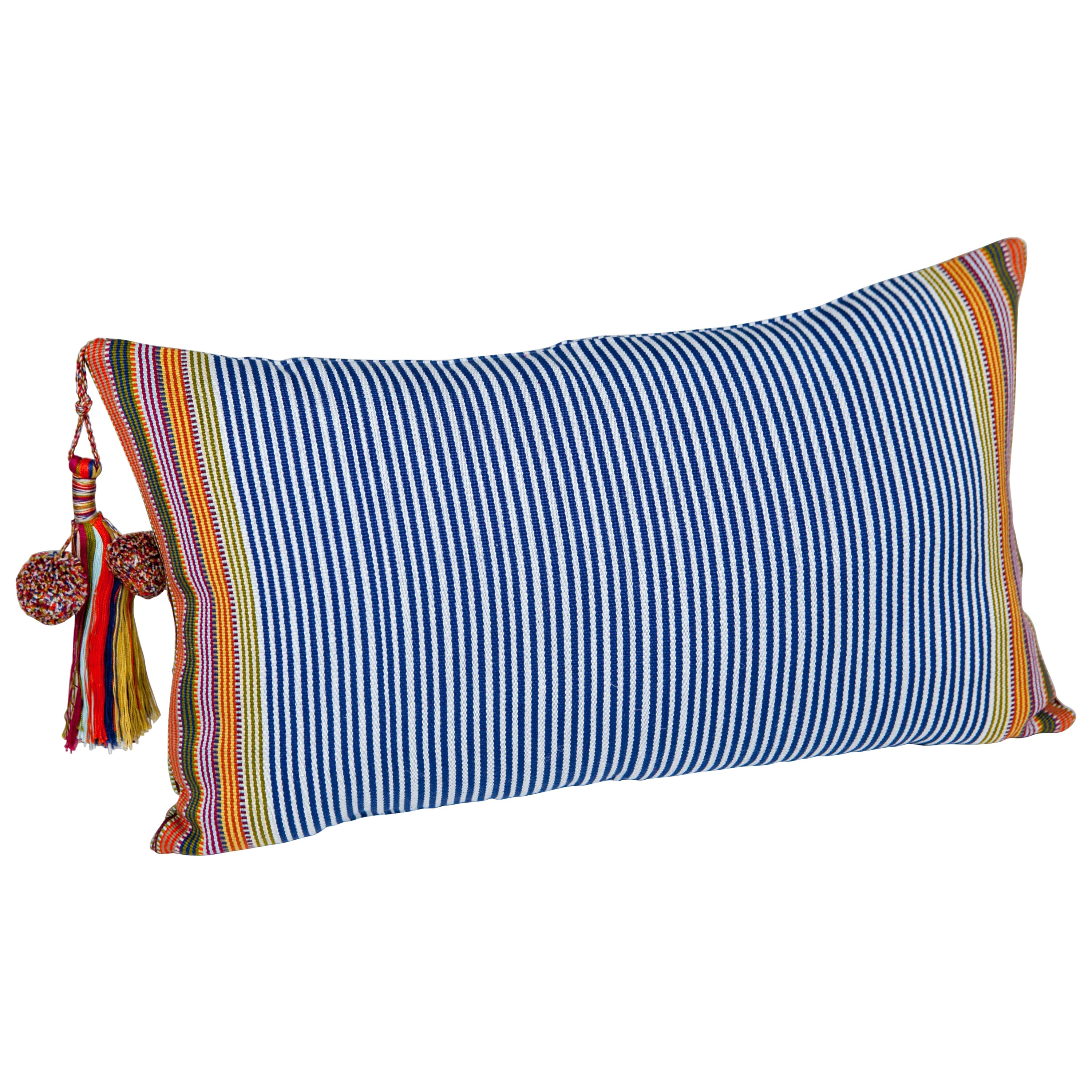 Handwoven Fine Cotton Pillow Blue Stripes, MultiColor Trim and Tassel, In Stock