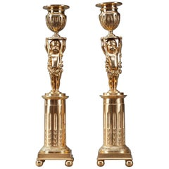 19th Century Ormolu Bronze Antique Candlestick Holders with Putti