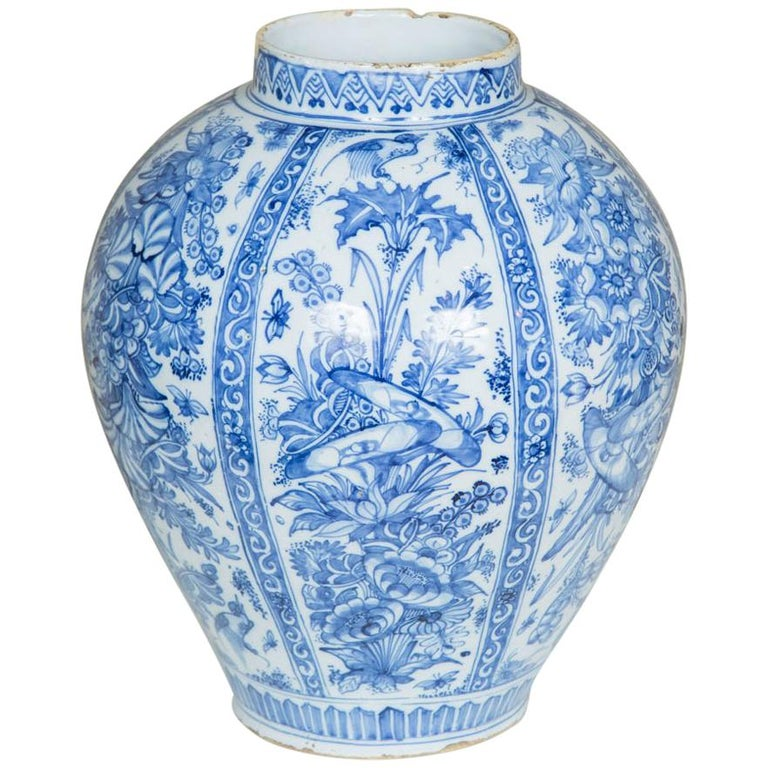 17th Century Dutch Delft Blue And White Vase For Sale At 1stdibs