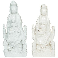 A Matced Pair of Chinese Kangxi Blanc de Chine Porcelain Guanyins, 17th C.