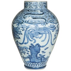 Late 17th Century Japanese Blue and White Arita Jar