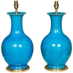 20th Century Pair of Chinese Turquoise Porcelain Vases as a Lamp