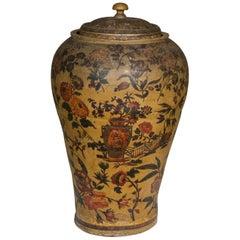 Large Regency Stoneware Decoupage Vase, 19th Century